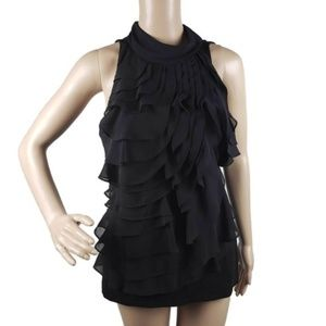 WHBM Sz M Black Ruffle Tank Top Bow Back